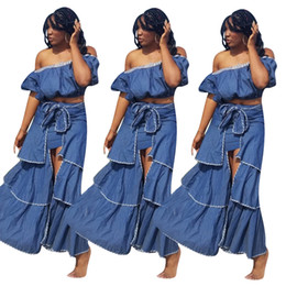 blue denim maxi dress Canada - Denim Cupcake Skirts Set Women Two Piece Outfits Blue Jeans Short Lantern Sleeve Crop Tube Top Tiered Split Maxi Princess Skirt Set S-2XL
