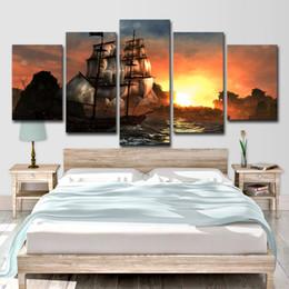 $enCountryForm.capitalKeyWord Australia - 5 Panel Sunset Mountain Range Retro Sailing Boat Seascape Home Wall Decor Canvas Picture Art HD Print Painting On Canvas Artwork