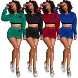 da277ab3b8d Champions Dress Tracksuit Long Sleeve Crop Top Hoodies + Short Dress 2Piece  Outfits Letter Printed Skirt Clothing Set Summer Jogger Suit