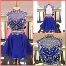 $enCountryForm.capitalKeyWord Australia - 2019 real picture two piece royal blue heavily beading informal prom dress high neck cap sleeve chiffon a line cocktail prom gowns 2019