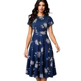 $enCountryForm.capitalKeyWord UK - Summer Women Elegant White Flowers Short Women Dress Vintage Office Party Center A -line Dress Vestidos Ea102 Y19071001