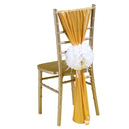 wholesale chair cover sash bows Australia - Silk Fabric Wedding Chair Sashes Handmade Celebration Birthday Party Event Chair Covers Decor Wedding Chair Sashes Bows 180*50 CM