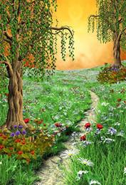$enCountryForm.capitalKeyWord Australia - 5x7FT Sunset Sky Fairt Garden Green Grass Red Flowers Path Park Custom Photo Studio Background Backdrop Vinyl 150cm x 220cm