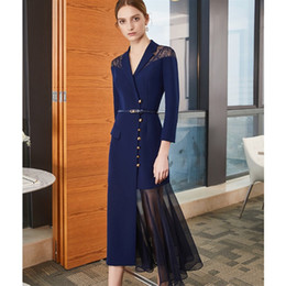 9b83a232695 2019 elegant navy chiffon short mother of the bride dresses custom 3 4  sleeves lace mother s dress tea length women evening prom gowns