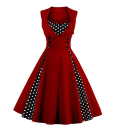 $enCountryForm.capitalKeyWord UK - Women 5XL New 50s 60s Retro Vintage Dress Polka Dot Patchwork Sleeveless Spring Summer Red Dress Rockabilly Swing Party Dress