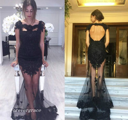 $enCountryForm.capitalKeyWord NZ - 2019 Sexy See Through Mermaid Prom Dress Black Backless Formal Holidays Wear Graduation Evening Party Pageant Gown Custom Made Plus Size