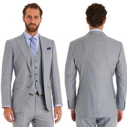 Coats Light Grey NZ - 2019 Latest Coat Pant Designs Light Grey Business Slim Fit Men Suits For Wedding Custom Made 3 Pieces Tuxedos(Jacket+Vest+Pants)