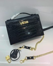 $enCountryForm.capitalKeyWord NZ - K1 22cm Mini Brand Women Totes Genuine leather Cowhide With Alligator Pattern bags Shoulder Bag With Fashion Handbag wholesale High Quality