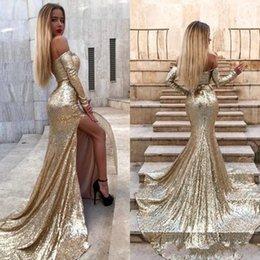 0effdf939e1 Cheap Gold Sequin Maternity Dress Australia - Bling Gold Sequins Evening  Dresses 2019 Mermaid Off Shoulder