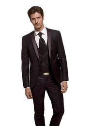 $enCountryForm.capitalKeyWord NZ - Popular Groomsmen Notch Lapel Groom Tuxedos Chocolate Men Suits Wedding Prom Dinner Best Man Blazer ( Jacket+Pants+Tie+Vest ) A1053