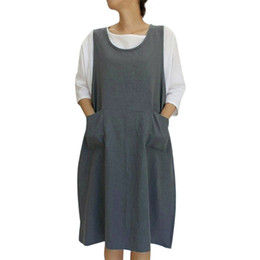 b2ff375158a JAYCOSIN Women s Clothing O-Neck Sleeveless Loose Cotton Dress Ladies  Fashion Casual Apron With Pockets Japanese Style Dress