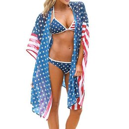 $enCountryForm.capitalKeyWord UK - Women Beach Wraps American Flag Stars Striped Printed Half Sleeve Sunscreen Cardigan Ladies Summer Bikini Cover Independence Day Beachwear