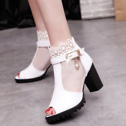 Discount heel shoes zipper back - Women Metal Buckle Lace Zipper Fish Mouth Rough With High heeled Shoes Sandals Two Colors To Choose High Heeled