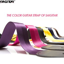 Musical instruMent electric bass online shopping - Guitar accessory SAGITAR Nylon Bass Acoustic Electric Guitar Strap Belt Colorful Guitar Straps Musical Instruments Leather Strap