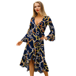 68c311c9c6d Originally Designed New Hot Selling Blockbuster Women s Dresses Spring 2019  Long Sleeve V-collar Fashion Printed Dresses Temperament A-shape
