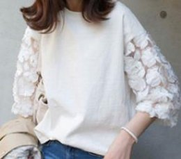 Cotton T Shirts Lace Canada - Spring and Summer New Style Loose Slim Half-sleeve Women's Fashion T-shirt with Lace Round Neck and Bottom Shirt
