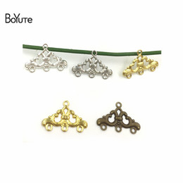 $enCountryForm.capitalKeyWord NZ - BoYuTe 50Pcs Metal Copper 17*25MM Filigree Flower Connector Charms Diy Hand Made Accessories for Earring Jewelry Making