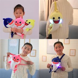 Wholesale Baby Shark Stuffed Doll For Kids Girl Plush Toy Backpacks Cute Light Inclined Shoulder Bag Blue Yellow md D1