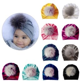 $enCountryForm.capitalKeyWord Australia - Infant Baby Girls Winter Glitter Velvet Turban Hat Fluffy Pompom Ball Ruched Pleated Beanie Cap Solid Color Knotted Ear Warmer