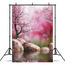 Discount painting scenery background - Vinyl Photographic Background Customized Natural Scenery Red Tree Lake Stone For Baby Shower Backdrop Photocall Booth St
