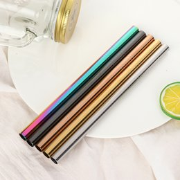reusable straws stainless steel Canada - 6 12mm*215mm Stainless Steel Drinking Straw Reusable Straight Metal Straws Fruit Juice Milk Eco-Friendly Bar Accessories C18112301