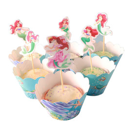 Discount mermaid cupcake toppers - New Style Baby Shower Birthday Party Cake Topper Kids Girls Favors Decoration Little Mermaid Theme Cupcake Wrappers 1Set