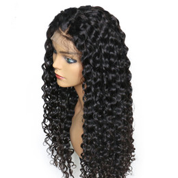peruvian deep wave full lace wigs UK - Preuvian Hair Deep Wave Full Front Lace Human Hair Wigs with Bleached Knots Natural Hairline Popular Fast Shipping