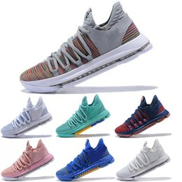 kds shoes for NZ - 2018 KD 10 EP Basketball Shoes for Top quality Correct Version Kevin Durant X kds 10s Rainbow Wolf Grey KD10 FMVP Sports Sneakers