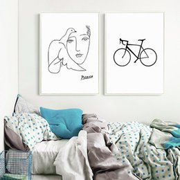 wholesale paintings NZ - Minimalist Black White Nordic Canvas Painting Bicycle Paris Tower Building Face Bird Pictures Wall Art Print Poster Home Decor