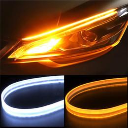 $enCountryForm.capitalKeyWord Australia - 2Pcs 12V Flexible Dual Color White-Amber LED Strip Tube Lights Waterproof 45 60cm DRL with Side Turn Signals Auto Brake Lights