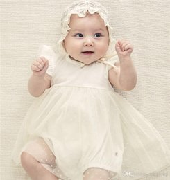 $enCountryForm.capitalKeyWord NZ - New Summer INS Toddler Baby Girls Fly Ruffles Short Sleeve Lace Dress Rompers Blank White Round Collar Back Button Newborn Jumpsuits 0-2T