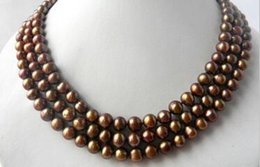 coffee pearl Australia - necklace Free shipping ++3Strands 8mm Coffee Round Freshwater Pearl Necklace