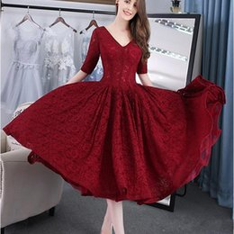 best evening gowns Australia - 2019 New Best Sale Cheap Half Sleeve V Neck New Arrival Burgundy Ball Gown Prom Dresses Lace Tea-Length Evening Gowns Vestido de Festa