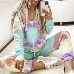 hoodie sweater female Canada - Tie Dye Print Sportswear Womens Two-piece Casual Suit Fashion Summer Long Sleeve Trousers Hoodies Sweater Sets Tracksuits Female Designer