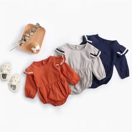 Toddler Leopard Jumpsuit Australia - INS Toddler Baby Girls Boys Navy Jumpsuits Turn-down Collar 100% Cotton Long Sleeve Romper High Quality Spring Fall Blank Lolita Romper 0-3T