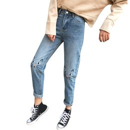 girls new jeans embroidery Canada - Fashion-High Waist Ankle Length Denim Pants Jeans New Style Female Sudents Girls Jeans Cat Embroidery