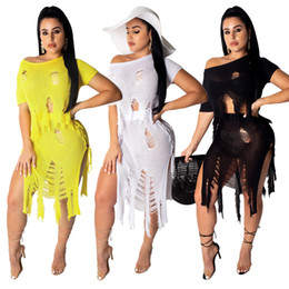 short knitted dress Canada - Knit Two Piece Skirts Set Women Sexy Club 2 Pc Dresses Hole Frayed Short Sleeve Crop Top Side Split Mini Skirts Outfits White Black Yellow
