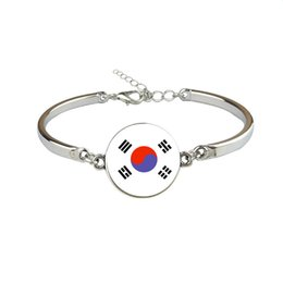 Woman Fans UK - Personalized Korea National Flag World Cup Football Fan Time Gem Glass Cabochon Bracelets & Bangles Silver Link Chain Women Men Jewelry Gift