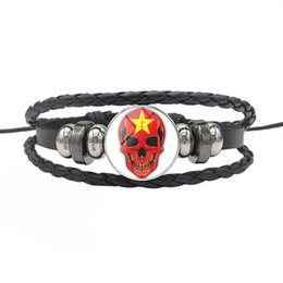 Lucky Fashion Jewelry UK - New Fashion Vietnam National Flag Time Gem Glass Dome Skull Series Bracelets Lucky Leather Rope Beaded Jewelry For Women Men Friendship Gift