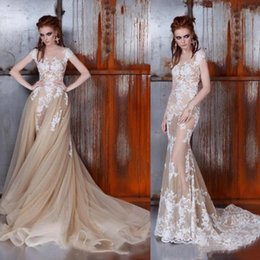cheap wedding dresses champagne color Canada - Cheap Plus Size Gothic Champagne Lace Mermaid Wedding Dresses With Detachable Train Bridal Gowns 2019 robe de mariée abito tulle ruffles