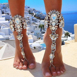 sexy foot chain ankle 2019 - Hot sell 2017 Sexy Leg Chain Female Boho Color Crystal Anklet women Ankle Bracelet Wedding Barefoot Sandals Beach Foot J