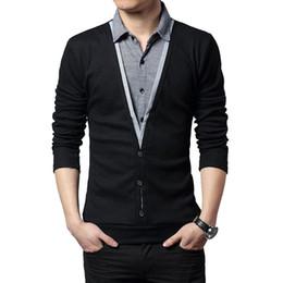 Fashion Men Clothes T Shirt Collar Australia - Autumn Clothes 2019 Fashion Trend Men Long Sleeve Knitted Thick T-shirt Patchwork Shirt Collar False Two Design Tops For Men 5xl