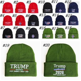 Wholesale ski usa online – design Trump Hats Knit Winter Skull Caps Donald Re Election Beanie Keep America Great Embroidery USA Flag Cap Ski Hat ZZA1292