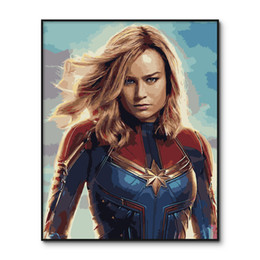 oil paint number framed UK - The Avengers Modular pictures Framed Captain Marvel painting by numbers Wall Art DIY Oil drawing by numbers Kits for Adults Y200102