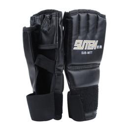 $enCountryForm.capitalKeyWord NZ - Wholesale- Leather Half Finger Fight Mma Boxing Gloves Mitts Sanda Karate Sandbag Taekwondo Protector Mma Muay Thai Kick Boxing Gloves Gear
