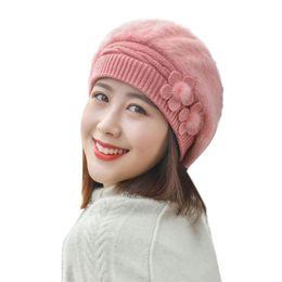fcc2dab527581 2019 Warmer Bonnet Ladies Casual Cap Women Winter Warm Cap Floral Knitted Hat  Beret Baggy Beanie Hat Slouch Ski
