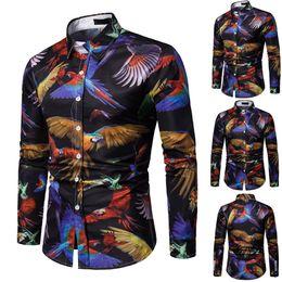 simple shirt blouse 2019 - Spring Simple Casual Slim Fit Shirts Men Long Sleeve Snake Printed Button Top Blouse Elegant Males Fashion Shirt Blouse
