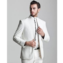 Male Fashion Suits Australia - Fashion new suit male suits white high collar men casual wear suits and dance dress custom dsy097