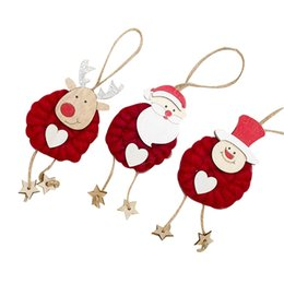 hanging doll decoration NZ - 3pcs set Lovely Xmas Hanging Pendants Heart Santa Clause Snowman Deer Doll Christmas Tree Ornament Christmas Decoration For Home