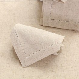 $enCountryForm.capitalKeyWord Australia - White Hemstitched Napkins Cocktail Napkin For Party Wedding Table Cloth Linen Napkins Cotton 45x45cm And 30x50cm